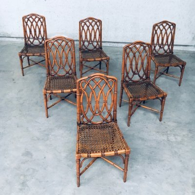 Set of 6 Chippendale Style Design Faux Bamboo Dining Chair, 1980's