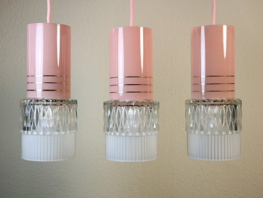 3 x pink glass lamps with pink textile cable, 1960s