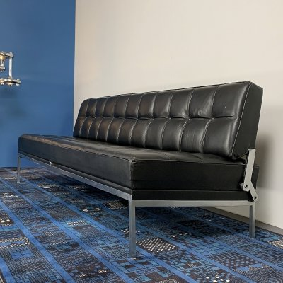 Black leather 'Constanze' daybed by Johannes Spalt for Wittman, Austria