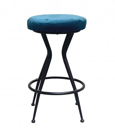 Black Painted Metal Stool with Green Fabric Seat, 1960s