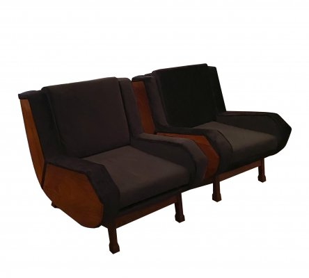 Pair of Club armchairs in wood & black fabric, Italy 1960s