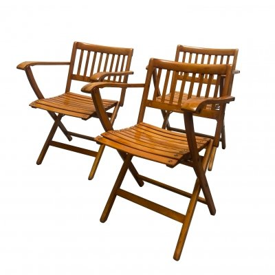 Three folding garden chairs with armrests by F.lli Reguitti