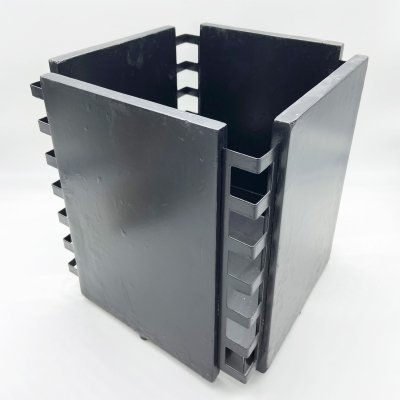 Waste paper basket in black lacquered wood, 1970