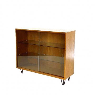 Vintage showcase cabinet with hairpin legs, 1960s
