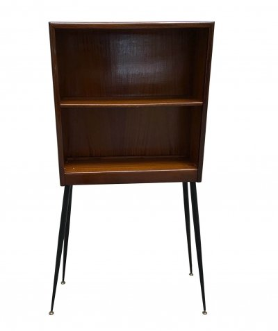 Walnut Wood Etagere With Black Metal Feet And Brass End Caps, 1960s