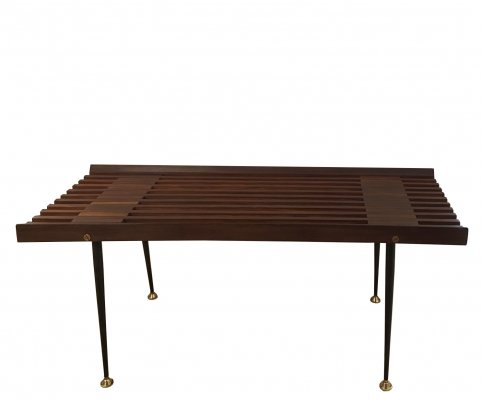 Bench in Teak & Black Painted Metal With Brass End Caps, 1960