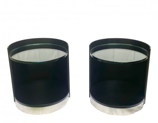 Pair of Gianni Moscatelli Cylindrical Bedside Tables for Formanova, 1970s