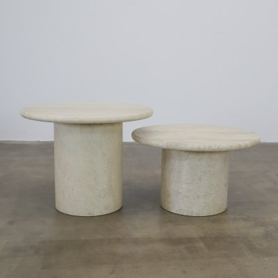 Travertine cilinder side tables, 1980s
