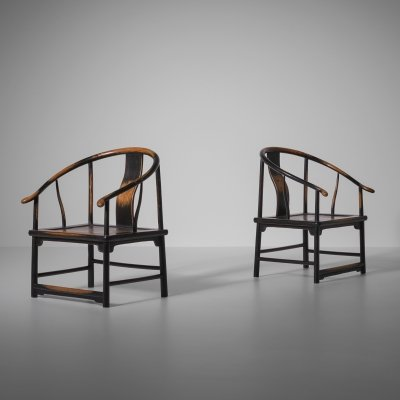 Pair of Antique Chinese Horse shoe chairs, early 20th century