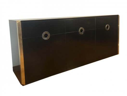Sideboard in black satin wood & brass by Willy Rizzo for Mario Sabot, Italia 1972