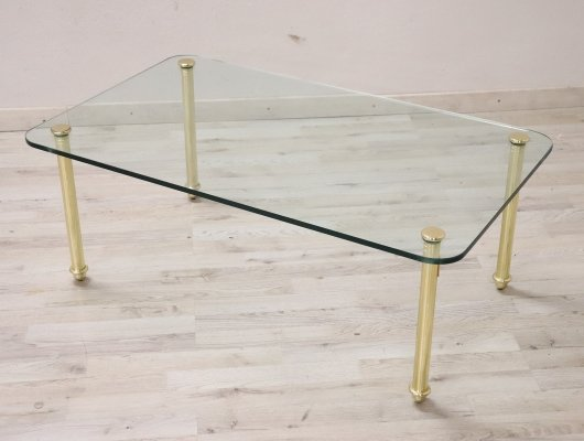 Brass & Crystal Coffee Table, 1980s