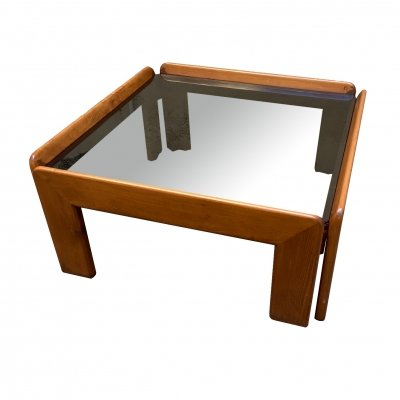 Wooden coffee table with glass top, 1970s