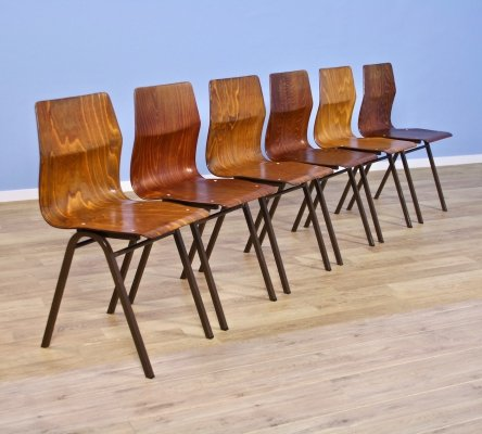 Set of 6 dining chairs in teak / plywood by Obo Eromes, 1970s