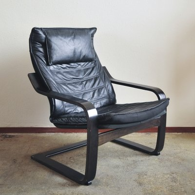 Vintage Black Leather Arm Chair on Wooden Frame