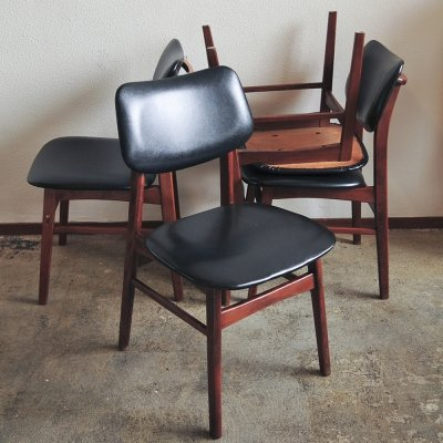 Set of 4 Leatherette Dining Chairs, 1970s