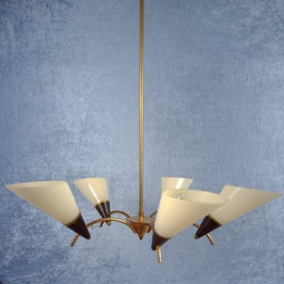 5-armed ceiling lamp with ivory white glass shades, 1950's