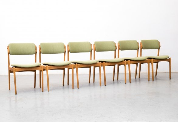 Set of 6 oak dining chairs model 49 by Erik Buch for O.D. Møbler, 1960s
