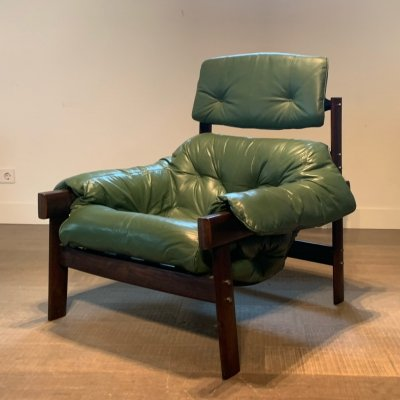 Percival Lafer hardwood lounge chair in green leather, Brasil 1970s