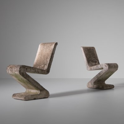 Concrete 'Zig Zag' chairs, France 1970s