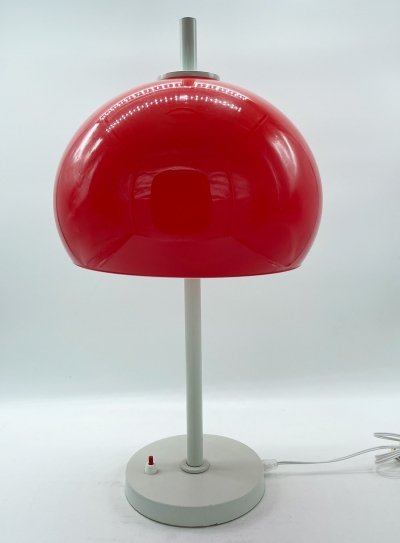 Guzzini table lamp with red perspex diffuser, 1970s