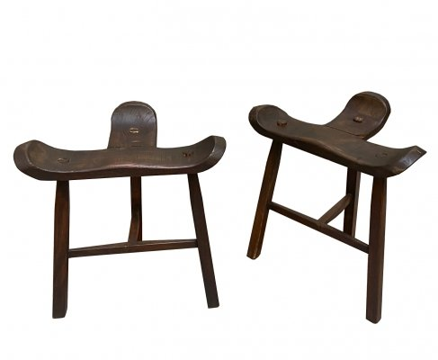 Pair of Spanish Stools in Stained Oak Wood, 1960s