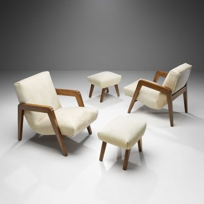 French Lounge Chairs with Footstools, France 1940s