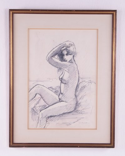 'Naked woman' Drawing, 60s