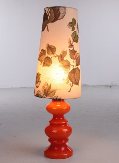 Orange Vintage glass table lamp with floral shade, 1960s