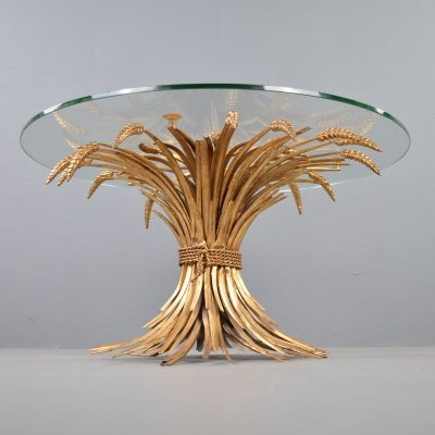 Coco Chanel sheaf of wheat gilded metal side table, 1960s