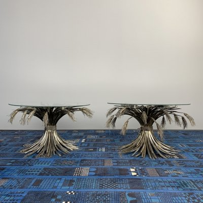 Pair of Coco Chanel Coffee tables with sheaf of wheat by Robert Goossens, 1970s