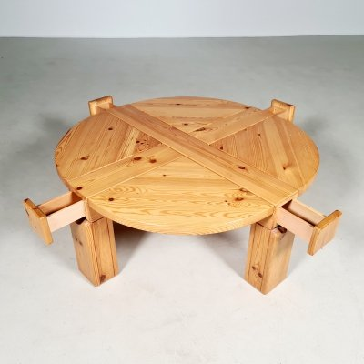 Solid pinewood coffee table with drawers, 1970s