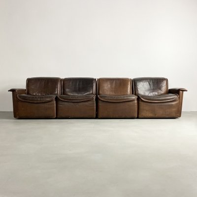 Brown Leather Modular DS-12 Sofa by De Sede, c.1970