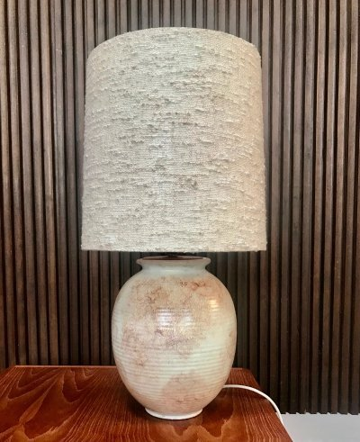 Large Ceramic Table Lamp with Alder Wood Detail & Wild Silk Shade, 1960s