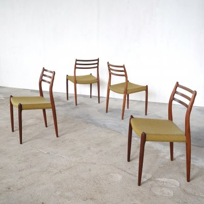 Set of 4 model no 78 dining chairs in rosewood by Niels O. Møller