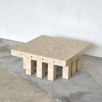 Architectural Belgian coffee table in travertine, 1970s