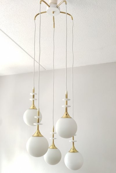 Vintage design Leclaire & Schäfer Hanging lamp with 5 opal glass balls, 70's