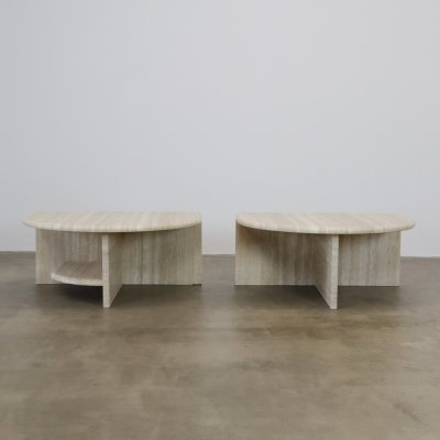 Travertine side tables, 1980s