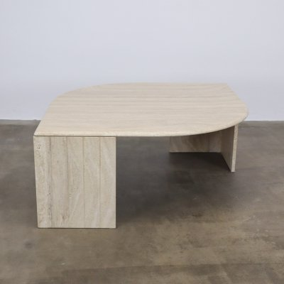 Travertine coffee table with ribbed foot, 1980s