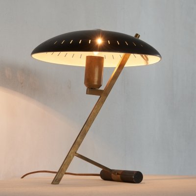 Patinated early 'z' table lamp by Louis Kalff, 1950s