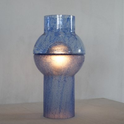 Exceptional table lamp in blue murano glass, 1970s