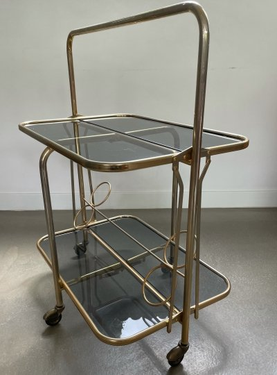 Hollywood regency style Foldable serving trolley, France 1950's