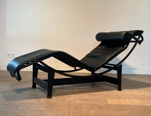 Black on black LC4 'Chaise Lounge' by Le Corbusier for Cassina, 1970s