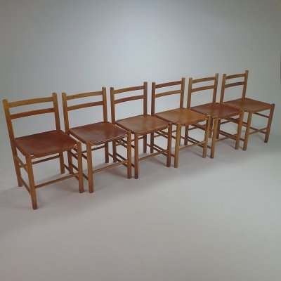 Set of 6 Mid Century Pine & Leather Dining Chairs by Ate van Apeldoorn, 1960s