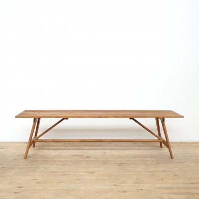Wooden mid-century slatted bench