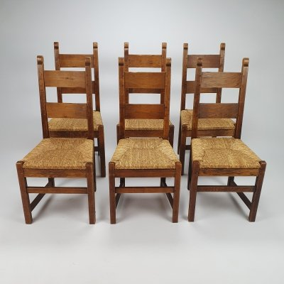 Set of 6 Vintage Oak & Straw rustic dining chairs, 1950s