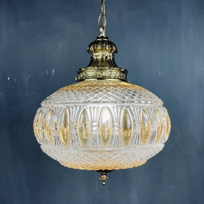 Vintage crystal swag lamp, Italy 1970s