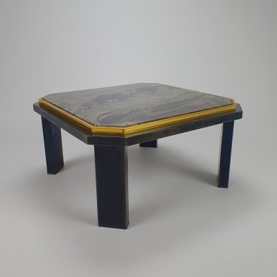Hollywood Regency Coffee Table with Steel, Brass & Marble,1970s