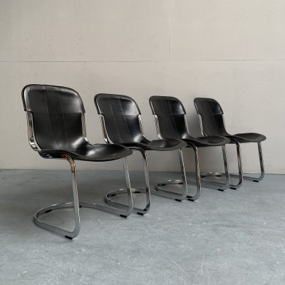Set of 4 dining chairs by Willy Rizzo for Cidue, Italy 1970s
