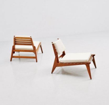 Pair of Hunting chairs in oak & rope, Sweden 1960