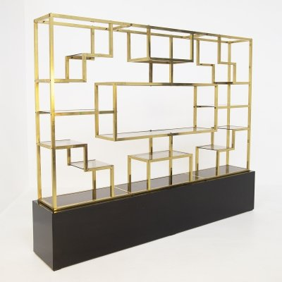 Vintage bookcase by Romeo Rega in Brass, Glass & Wood